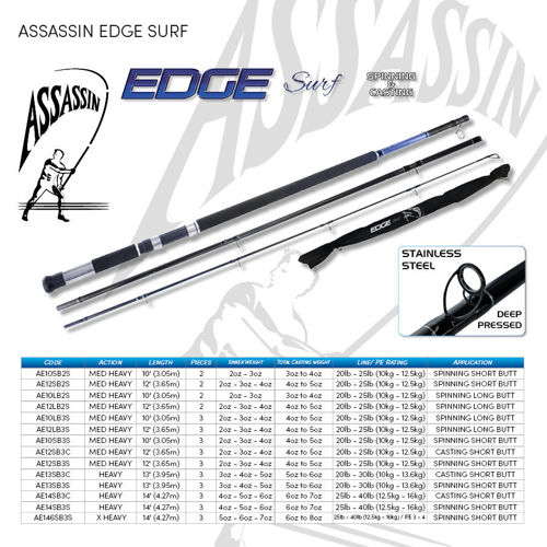 Picture of ASSASSIN Edge Surf 12ft Spin LB 4-5oz 3pc