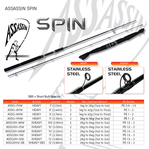 Picture of ASSASSIN Spin Wind Up 8ft  0.5-1.5oz H 2pc