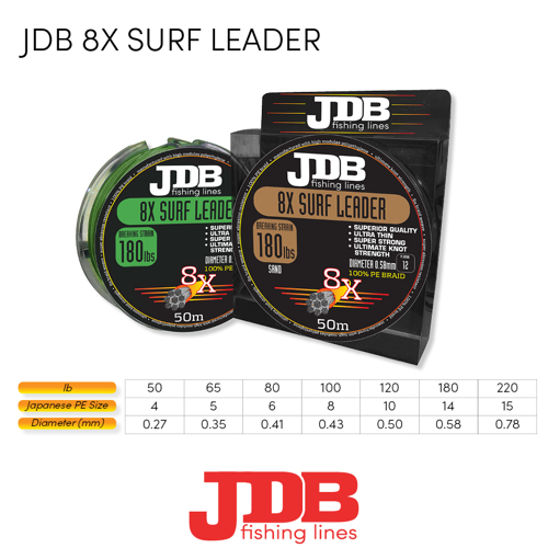 Picture of JDB Surf Leader 8X 80lbs 50m Sand