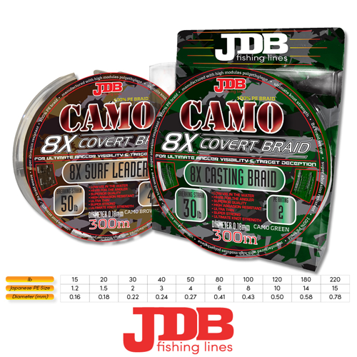 Picture of JDB Surf Leader 8X 100lbs 50m Camo Green