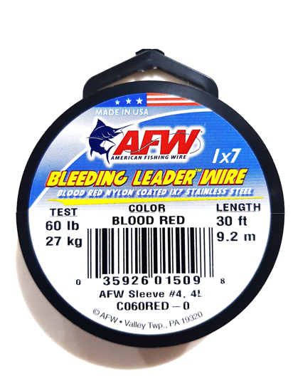 Picture of AFW Bleeding Leader Wire 90lb 9.2m Blood Red